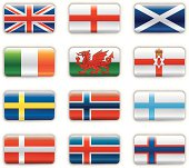 Extra glossy flags -  Britain & Scandinavia