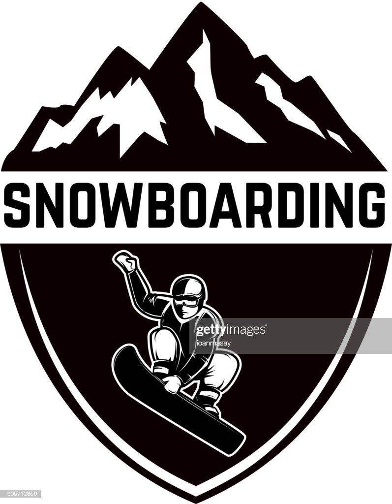 Extreme. Emblem with snowboarder. Design element for label, emblem, sign.