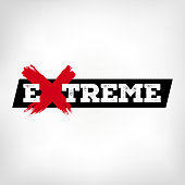Extreme. Logo with the word extreme. X with grunge style. Handmade strokes.