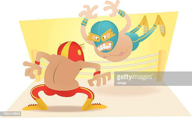 extreme mexican wrestling - struggle stock illustrations