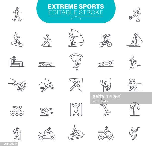 extreme sport icons editable stroke - aquatic sport stock illustrations