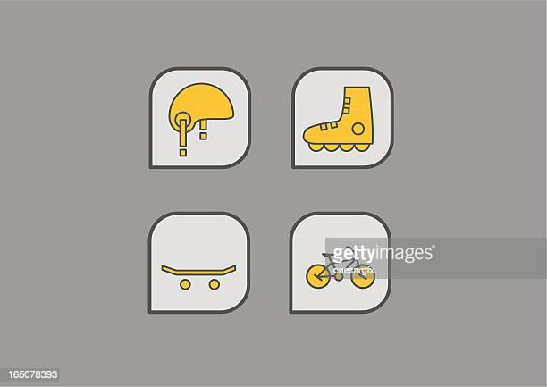 extreme sport icons - bike helmet stock illustrations, clip art, cartoons, & icons