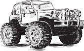 Extreme Sports - 4x4 Sports Utility Vehicle SUV Vector Illustration