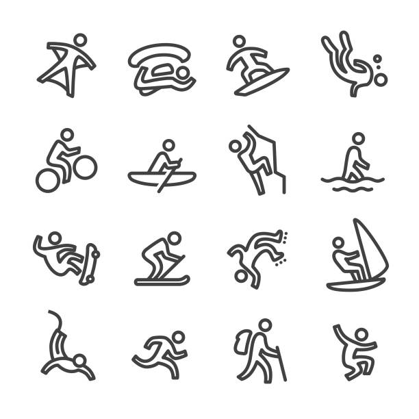 extreme sports icons - line series - skateboarding stock illustrations