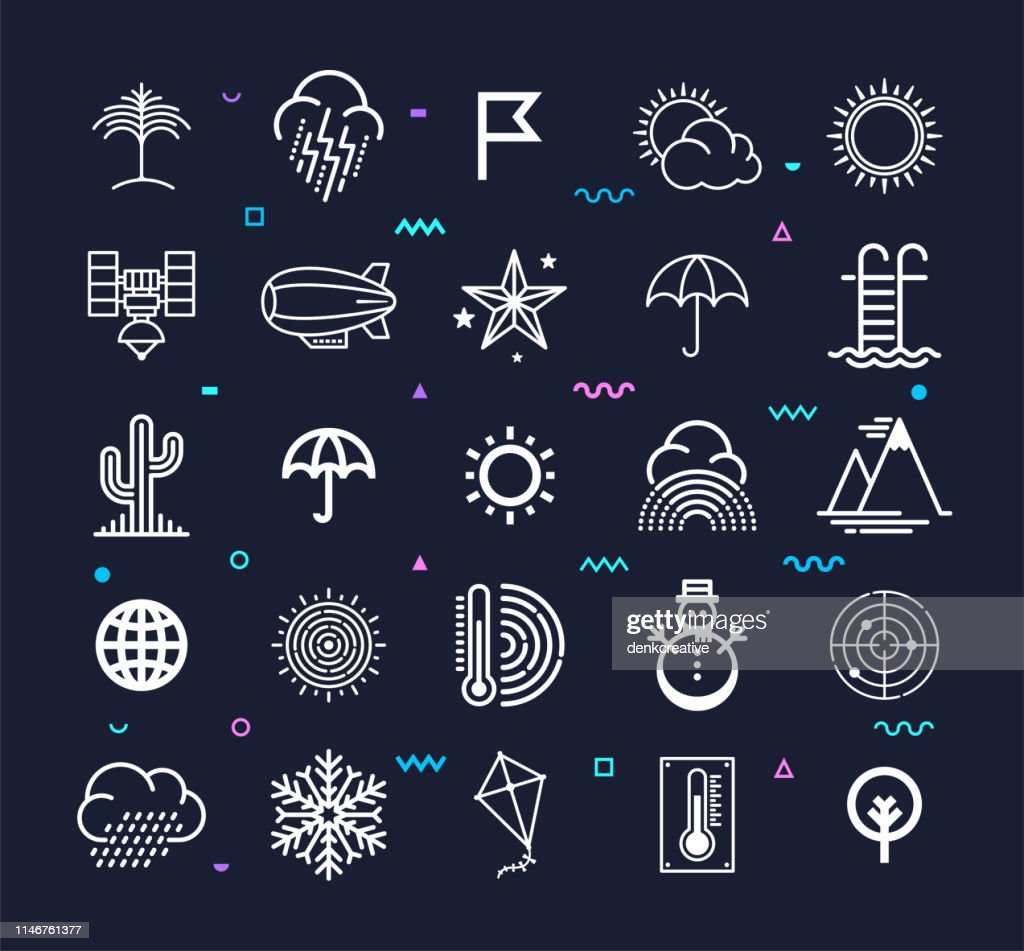 Extreme Weather & Climate Change Line Style Vector Icon Set : stock illustration