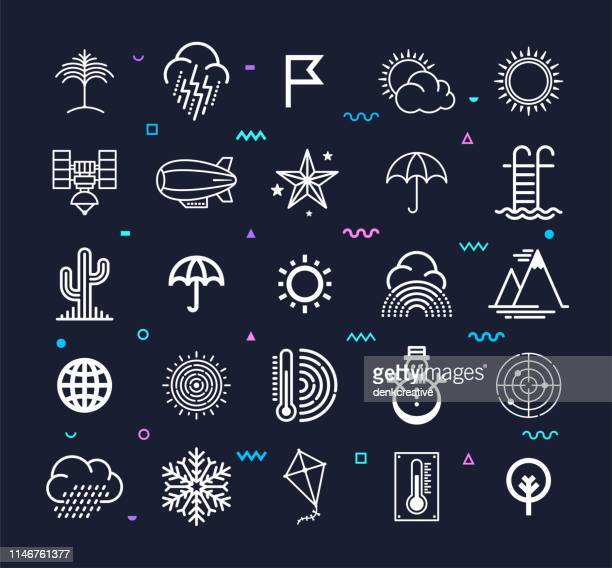 Extreme Weather & Climate Change Line Style Vector Icon Set