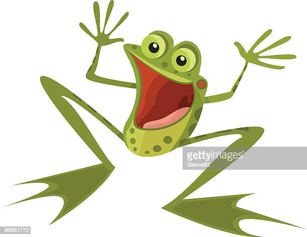 非常に幸せな小型のカエル - 小型のカエル点のイラスト素材/クリップアート素材/マンガ素材/アイコン素材