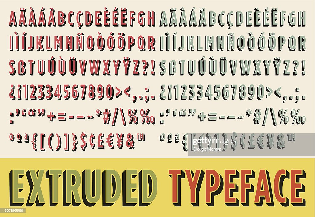 Extruded typeface