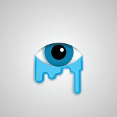 Eye and tears, flat style minimalistic illustration.