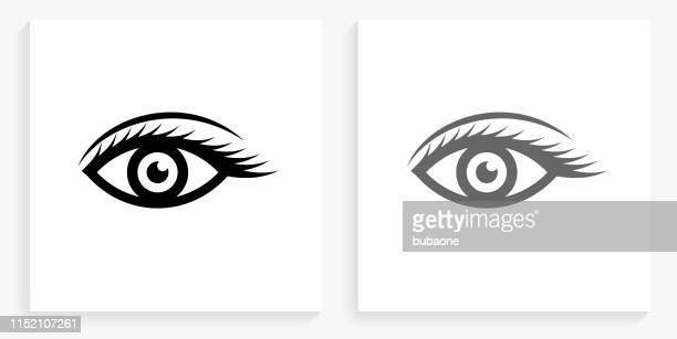 eye black and white square icon - human eye stock illustrations