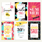 Eye catching summer sale mobile banners, ads and posters collection