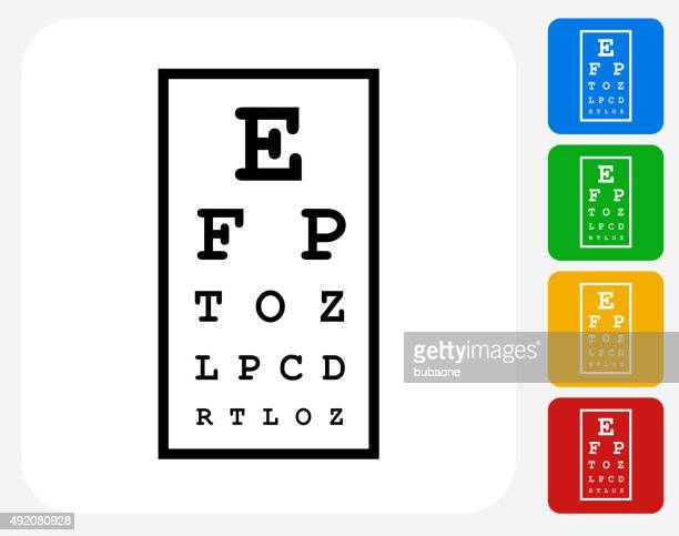 eye chart icon flat graphic design - ophthalmology stock illustrations, clip art, cartoons, & icons