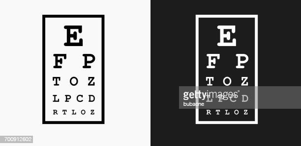 eye chart icon on black and white vector backgrounds - eye chart stock illustrations