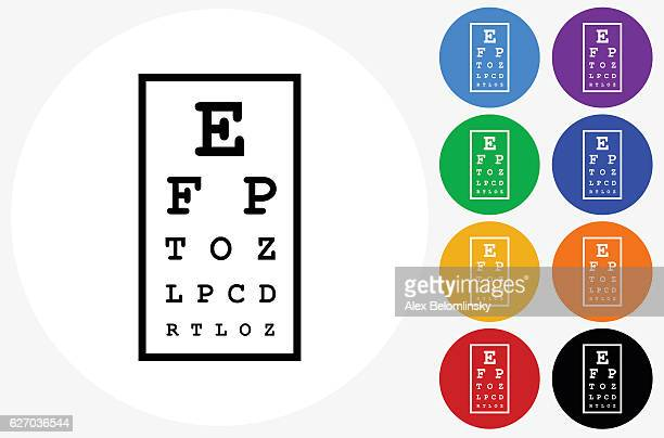 eye chart icon on flat color circle buttons - eye chart stock illustrations