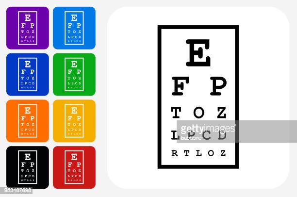 eye chart icon square button set - eye chart stock illustrations