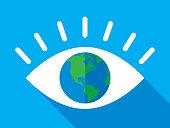 Eye Earth Icon Flat