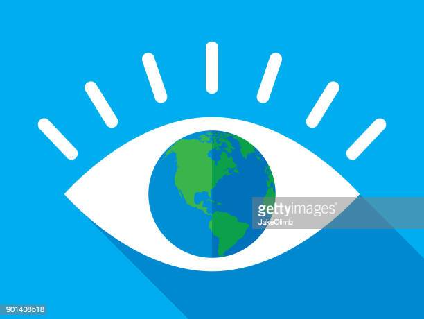 eye earth icon flat - looking at view stock illustrations