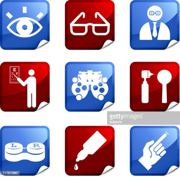 eye exam and optometry royalty free vector icon set stickers - horn rimmed glasses stock illustrations, clip art, cartoons, & icons