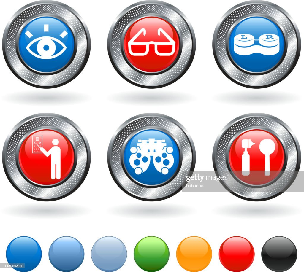 eye exam and optometry royalty free vector icon set : stock illustration