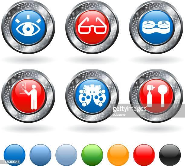 eye exam and optometry royalty free vector icon set