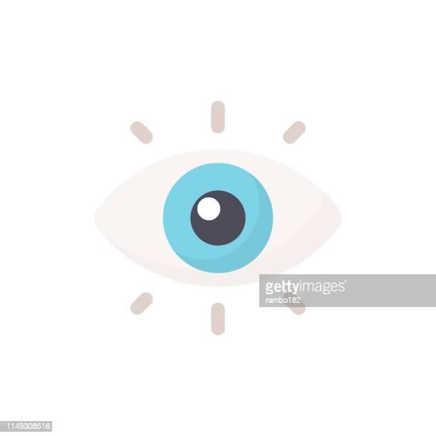 ilustrações, clipart, desenhos animados e ícones de ícone liso do olho. pixel perfeito. para mobile e web. - olho