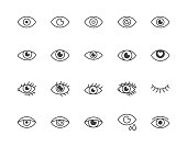 Eye flat line icons set. Tired eyes, vision, eyesight, makeup simple vector illustrations. Outline signs for visibility concept, optometrist clinic. Pixel perfect 64x64. Editable Strokes