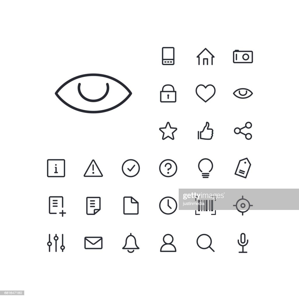 Eye icon in set on the white background. Universal linear icons to use in web and mobile app.