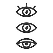 Eye Icon Set Vector Design on White Background.