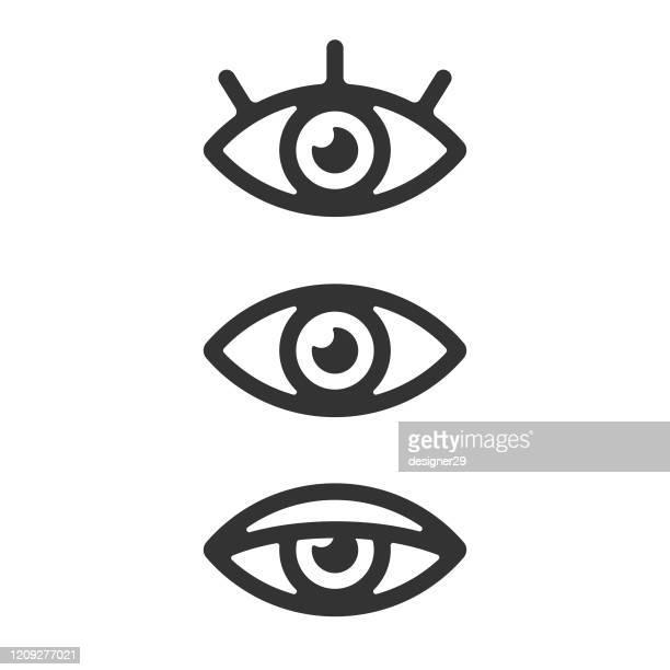 ilustrações, clipart, desenhos animados e ícones de design de vetor de conjunto de ícones oculares em fundo branco. - olho