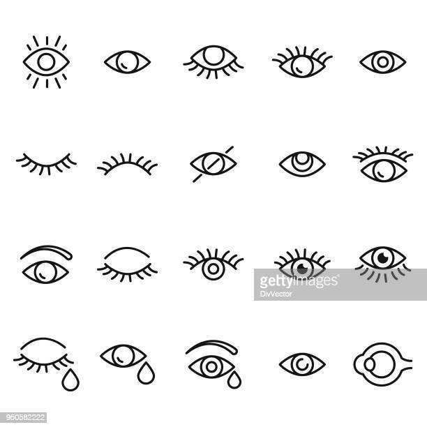ilustrações, clipart, desenhos animados e ícones de conjunto de ícones de olhos - olho
