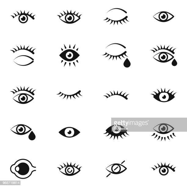 eye icon set - eyelash stock illustrations