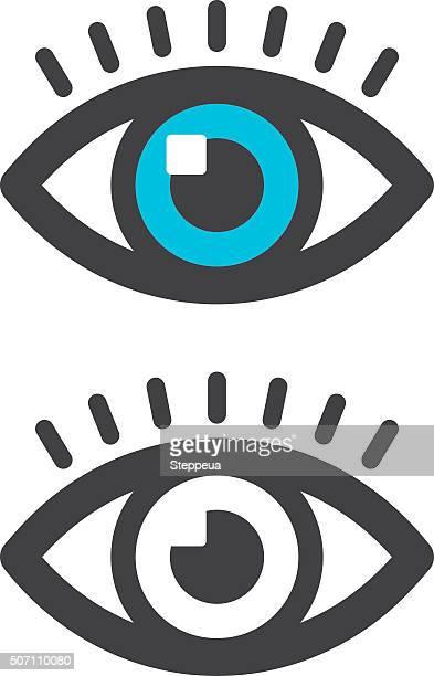 ilustraciones, imágenes clip art, dibujos animados e iconos de stock de icono de ojo - mirar un objeto