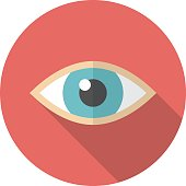 Eye icon with long shadow.