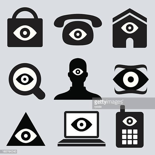 eye icons - cyclops stock illustrations, clip art, cartoons, & icons