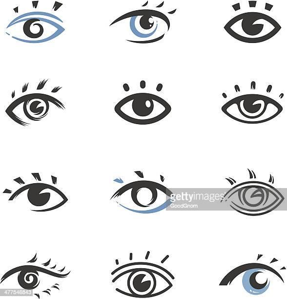 ilustrações, clipart, desenhos animados e ícones de ícones de olhos - olho