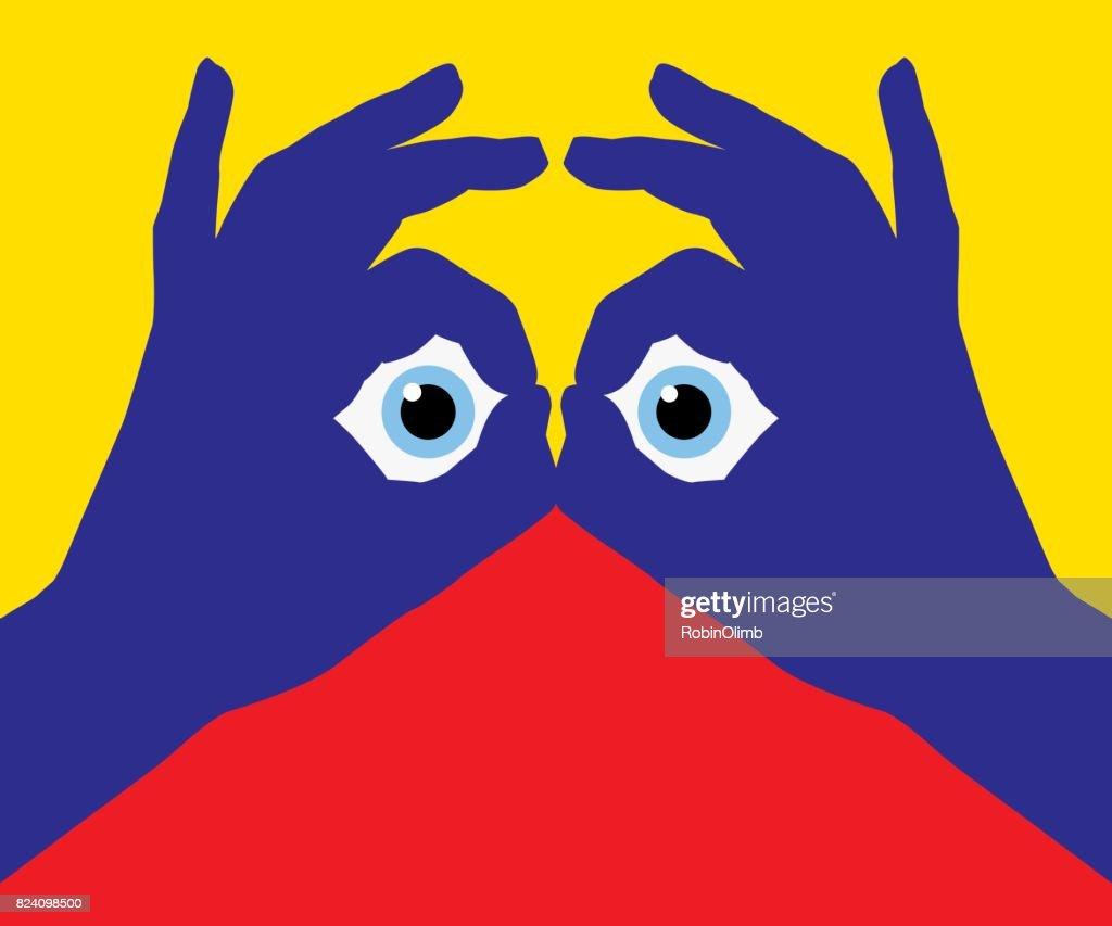 Eye Looking Through Fingers