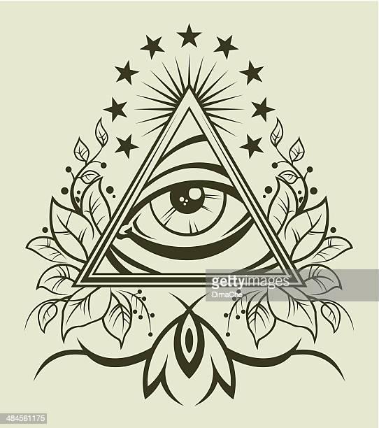 eye of providence - magic eye stock illustrations