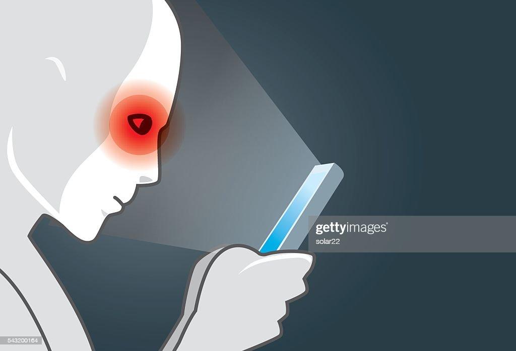 Eye pain from using smart phone in dark
