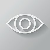 Eye Paper Thin Line Interface Icon With Long Shadow