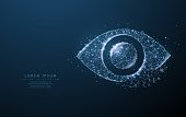 Eye. Polygonal wireframe mesh icon with crumbled edge looks like constellation. Concept illustration or background