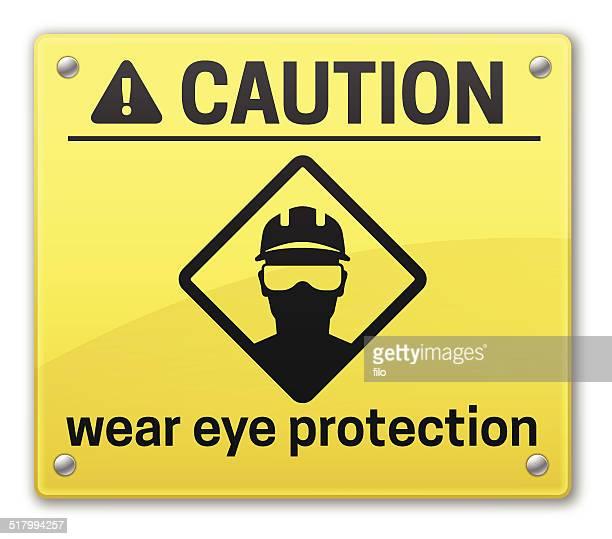eye protection caution sign - protective eyewear stock illustrations