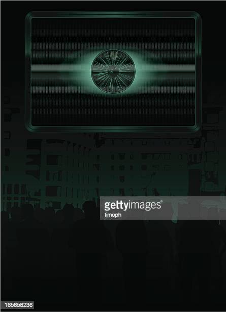 eye screen crowd - big brother orwellian concept stock illustrations, clip art, cartoons, & icons