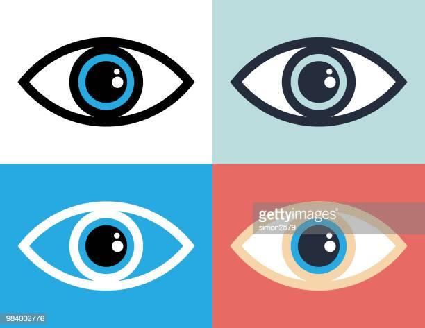 eye symbol icon illustration - looking stock illustrations