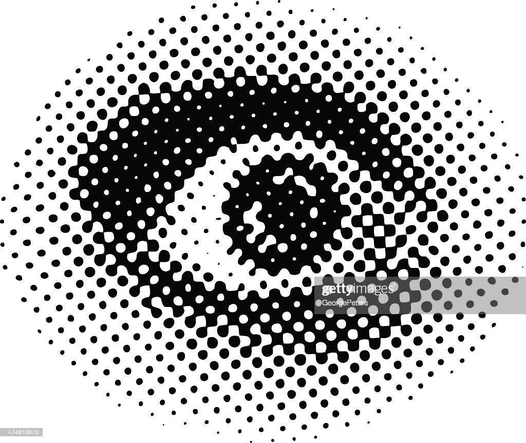 Eye Terrified. Halftone Pattern Dot. : stock illustration