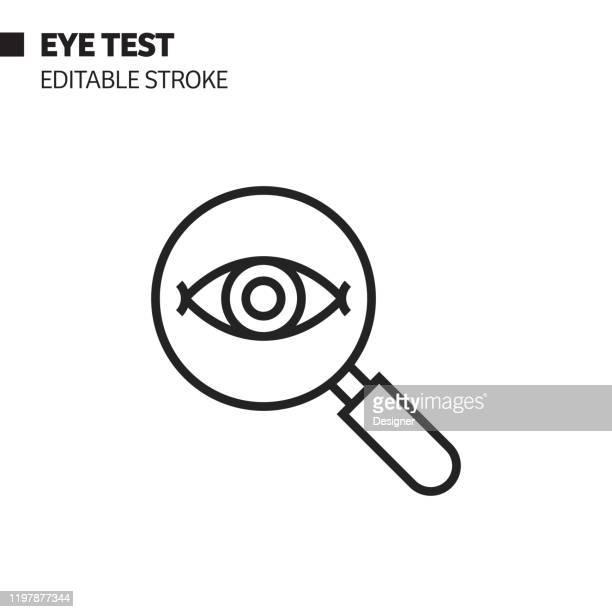 目のテストラインアイコン、アウトラインベクトルシンボルイラスト。ピクセルパーフェクト、編集可能なストローク。 - 検眼医点のイラスト素材/クリップアート素材/マンガ素材/アイコン素材