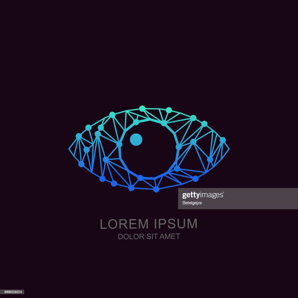 Eye vector tech sign or emblem design. Concept for biometric recognition, CCTV, retina scan, cyber vision.