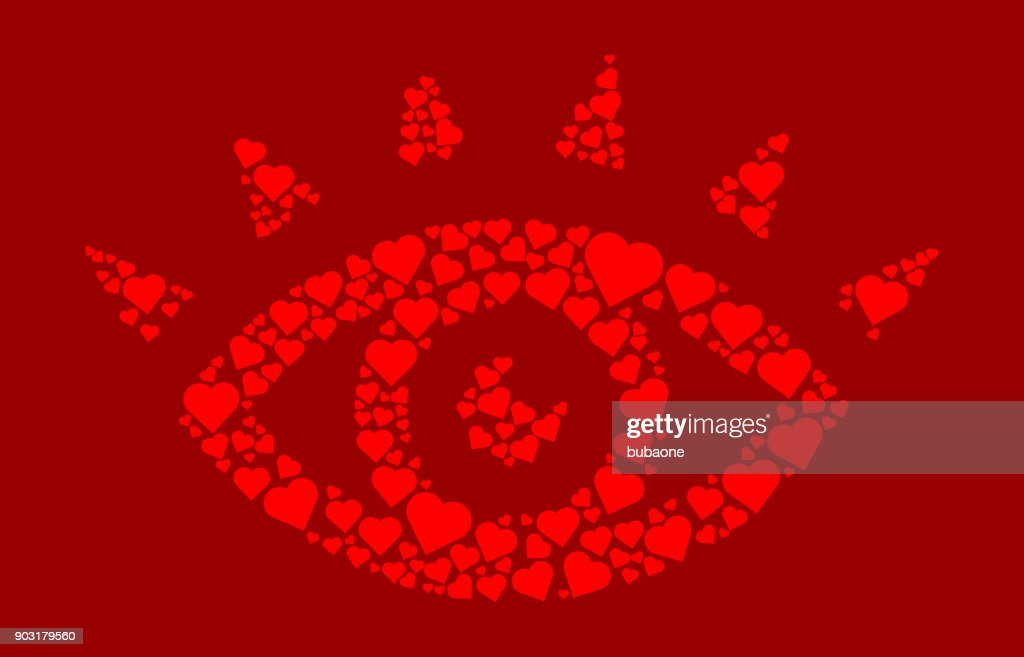 Eye With Eyelashes Red Hearts Love Pattern Vector Art Getty Images