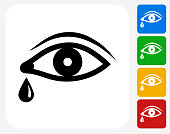 Eye with Tear Icon Flat Graphic Design