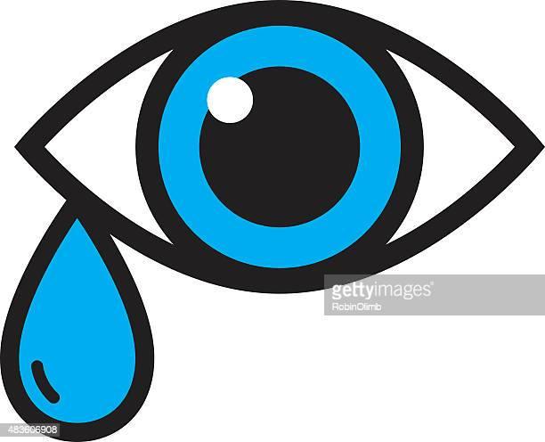 eye with tear icon - teardrop stock illustrations