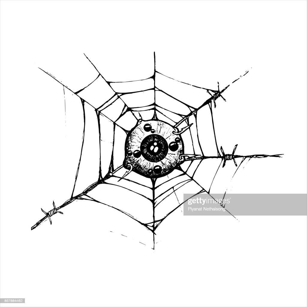 Augapfel Befestigt Das Spinnennetz Und Stacheldraht Haken Abbildung ...